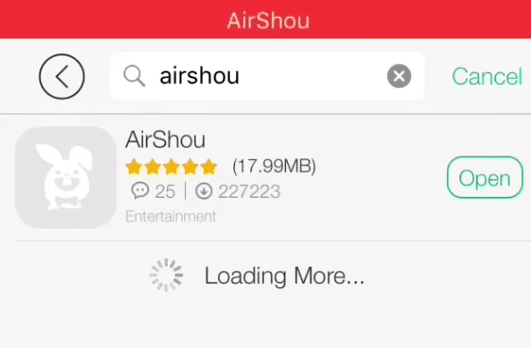 Zoeken naar airshou helper van Tutu klik op Installeren op de iPhone airshou te downloaden