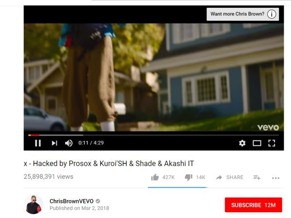 Chris Brown dal Canale Vevo Hacked