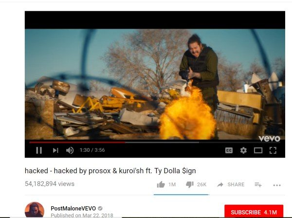 Post Malone dal Canale VEVO hacked