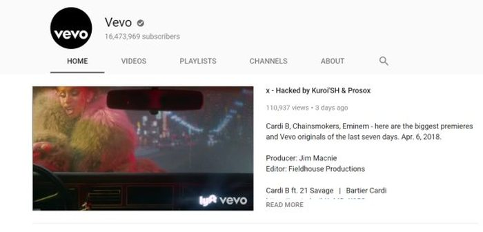 Vevo canal de YouTube Hacked